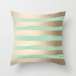 Painted Stripes Gold Tropical Ocean Green Throw Pillow