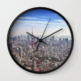 Skyline of Tokyo, Japan with the Tokyo Tower, from above Wall Clock