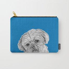 Shih Tzu Dog Portrait ( blue background ) Carry-All Pouch
