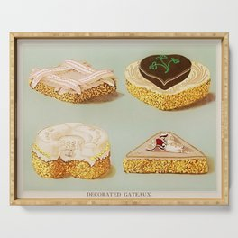 Decorated French Cakes Gateaux, Pastry, petit fours - T. Percy Lewis & A. G. Bromley Poster Serving Tray