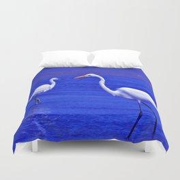 ROYAL BLUE GARZA BIRD Duvet Cover