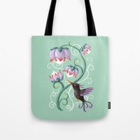 hummingbird Tote Bags featuring Hummingbird by Freeminds