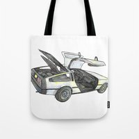 delorean Tote Bags featuring DMC - Delorean by dareba