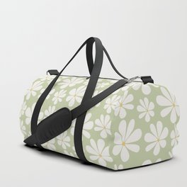 Floral Daisy Pattern - Green Duffle Bag
