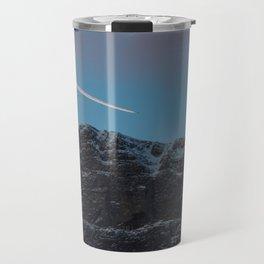 Plane Flying Over Mountains in Sunrise Travel Mug