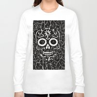 cracked Long Sleeve T-shirts featuring Cracked SKULL by MehrFarbeimLeben