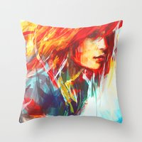 red Throw Pillows featuring Airplanes by Alice X. Zhang
