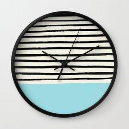 Sky Blue x Stripes Wall Clock