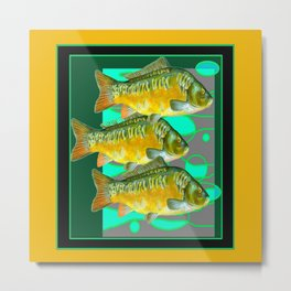MODERN ART GREEN & OCHER DECORATIVE THREE FISH Metal Print