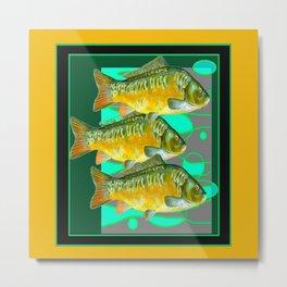 MODERN ART GREEN & OCHER DECORATIVE THREE FISH Metal Print