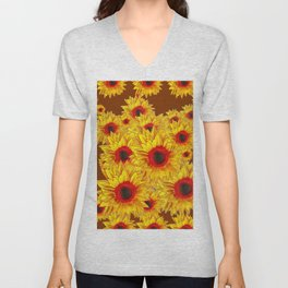 Coffee Brown & Red Centered Yellow Sunflowers Unisex V-Neck