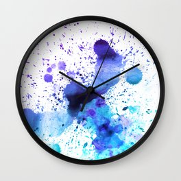 Dark Blue and Aqua Watercolor Paint Splatter on White Wall Clock
