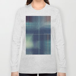 Distresed Denim Abstract Line Design Long Sleeve T-shirt