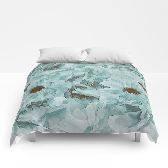 Soft Slate Blue Floral Abstract Comforters