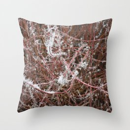 Red Frost Spiked Branches Throw Pillow