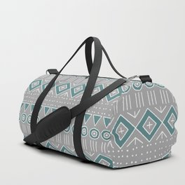 Mudcloth Style 2 in Gray and Teal Duffle Bag