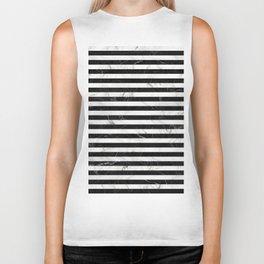 Marble Stripes Pattern - Black and White Biker Tank