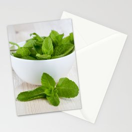 fresh aromatic mint leaves Stationery Cards