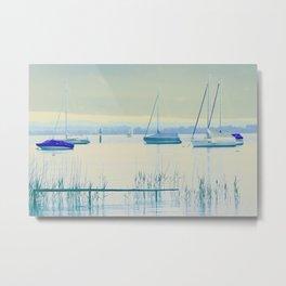 Sailing in soft blue Metal Print