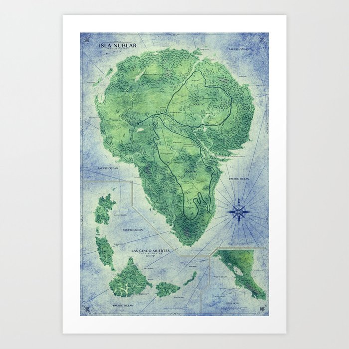 Jurassic Park - Map - Colour Kunstdrucke