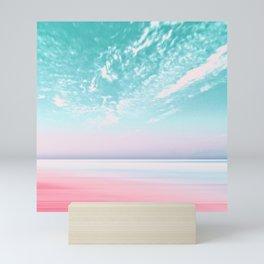 ocean pink beach sea Mini Art Print