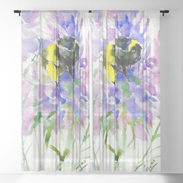 Bumblebee and Lavender Flowers, nature bee honey making decor Sheer Curtain