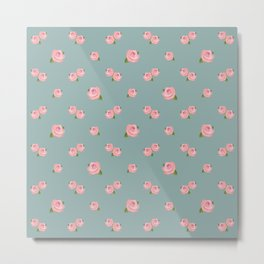 Pink Roses Repeat Pattern on Teal Metal Print