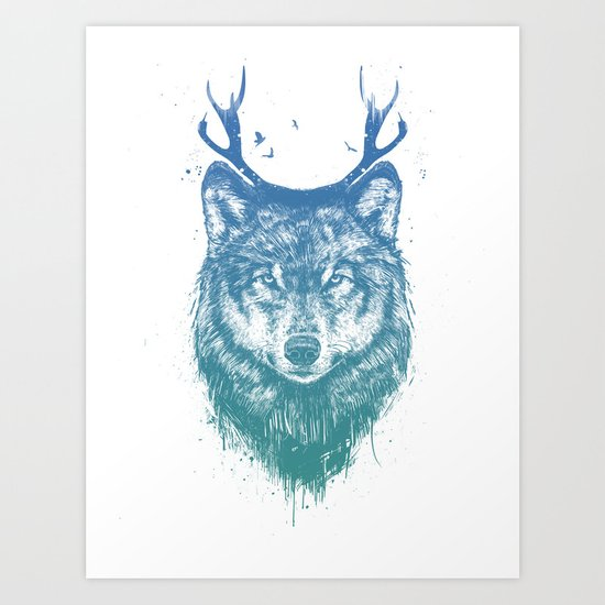Deer wolf Art Print