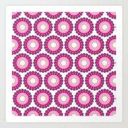 Purple pink circled polka dots on white Art Print