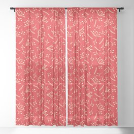 Christmas Branches and Berries in red and yellow Sheer Curtain