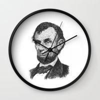 lincoln Wall Clocks featuring Abraham Lincoln by barmalisiRTB