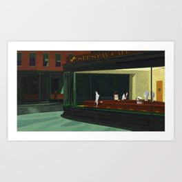 An Homage to Edward Hopper's Nighthawks Art Print