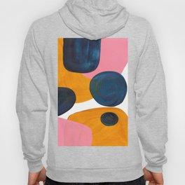 Mid Century Modern Abstract Minimalist Retro Vintage Style Pink Navy Blue Yellow Rollie Pollie Ollie Hoody