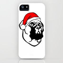 Bullmastiff Dog with Christmas Santa Hat iPhone Case