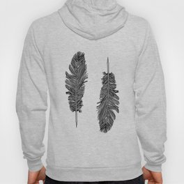 Two Black And White Feathers Bohemian Art Hoody