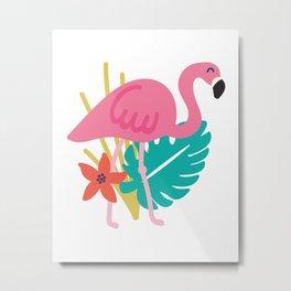Tropical Flamingos White Metal Print