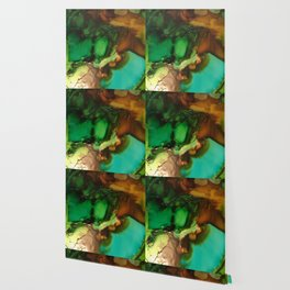 Melting Crystals, Green, Yellow, Brown an Aqua Wallpaper
