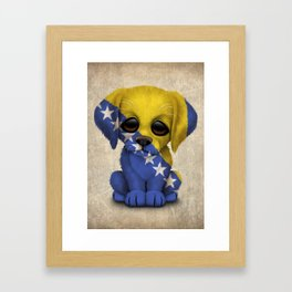 Cute Puppy Dog with flag of Bosnia - Herzegovina Framed Art Print