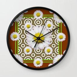 Modern Coffee Brown Deco Style Shasta Daisies Art Wall Clock