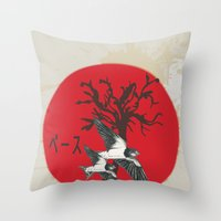 swallow Throw Pillows featuring Swallow by Sekhmet