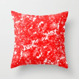 A bright cluster of red bodies on a light background. Throw Pillow