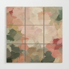 Forest Green Fuchsia Blush Pink Abstract Flower Spring Painting Art Wood Wall Art
