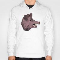 burgundy Hoodies featuring Burgundy Boar by peter glanting