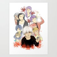 tokyo ghoul Art Prints featuring Tokyo Ghoul by Catriona Laird
