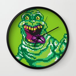 Ghostbusters Slimer Pixel Art Wall Clock