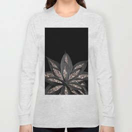 Gray Black Agave with Rose Gold Glitter #1 #shiny #tropical #decor #art #society6 Long Sleeve T-shirt