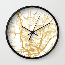 CINCINNATI OHIO CITY STREET MAP ART Wall Clock
