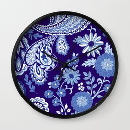 Floral and Paisley Mix Blues Wall Clock