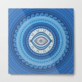 Greek Mati Mataki - Greek Evil Eye ornament Metal Print