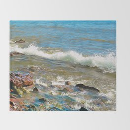 North Shore Waves 3 Throw Blanket